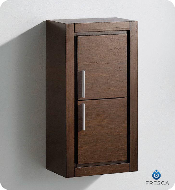 Picture of Fresca Wenge Brown Bathroom Linen Side Cabinet w/ 2 Doors
