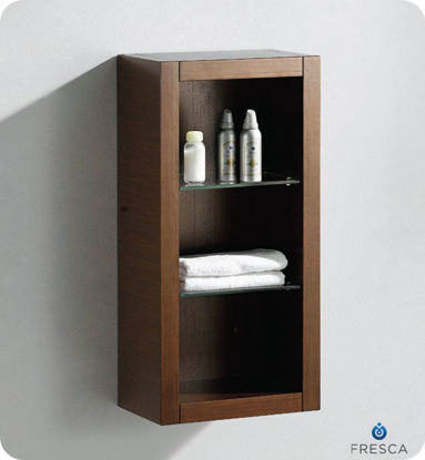 Picture of Fresca Wenge Brown Bathroom Linen Side Cabinet w/ 2 Glass Shelves