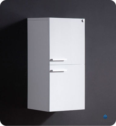 Picture of Fresca White Bathroom Linen Side Cabinet w/ 2 Storage Areas