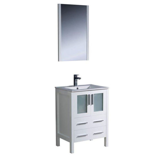 "Picture of Fresca Torino 24"" White Modern Bathroom Vanity w/ Integrated Sink"