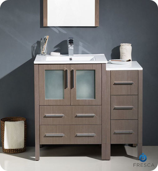 """Picture of Fresca Torino 36"""" Gray Oak Modern Bathroom Vanity with Side Cabinet and Integrated Sinks"""