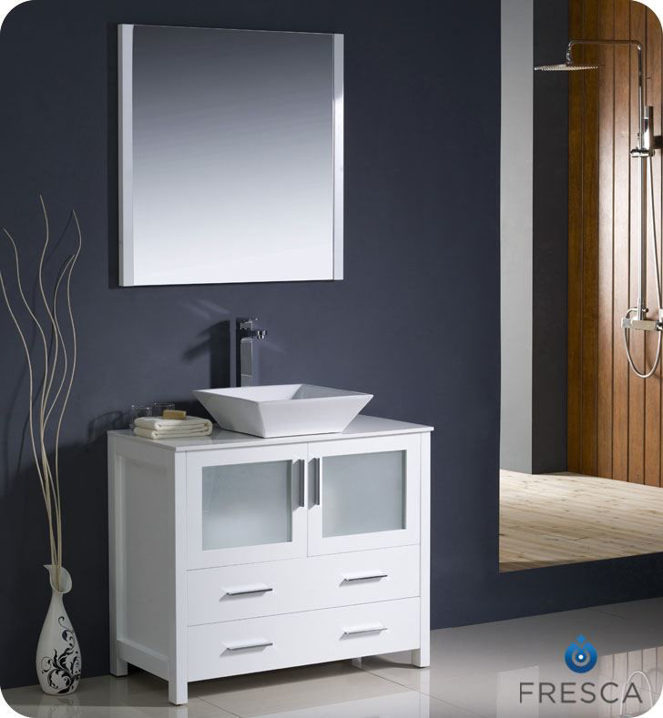 "Picture of Fresca Torino 36"" White Modern Bathroom Vanity w/ Vessel Sink"