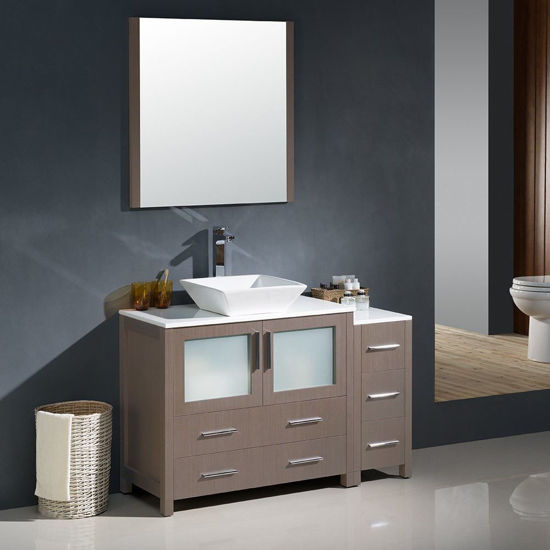 "Picture of Fresca Torino 48"" Gray Oak Modern Bathroom Vanity with Side Cabinet and Vessel Sink"