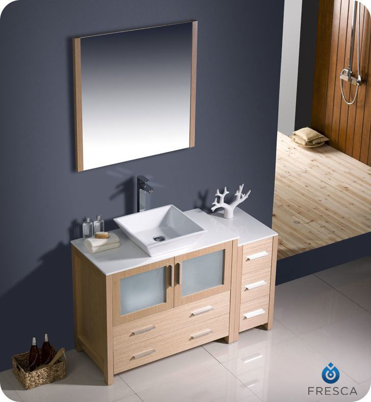"Picture of Fresca Torino 48"" Light Oak Modern Bathroom Vanity w/ Side Cabinet & Vessel Sink"
