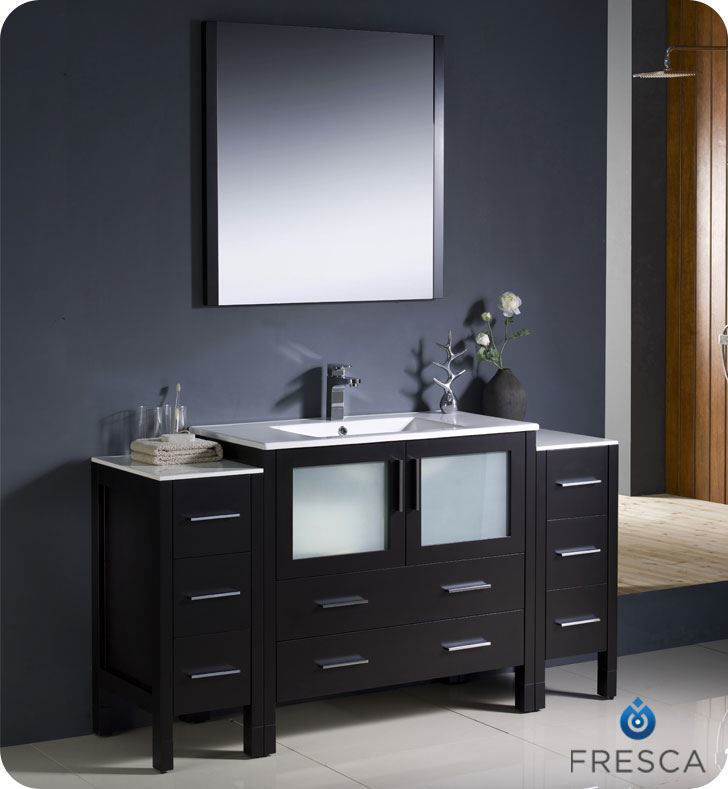 """Picture of Fresca Torino 60"""" Espresso Modern Bathroom Vanity w/ 2 Side Cabinets & Integrated Sink"""
