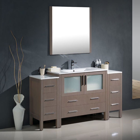 """Picture of Fresca Torino 60"""" Gray Oak Modern Bathroom Vanity with 2 Side Cabinets and Integrated Sink"""