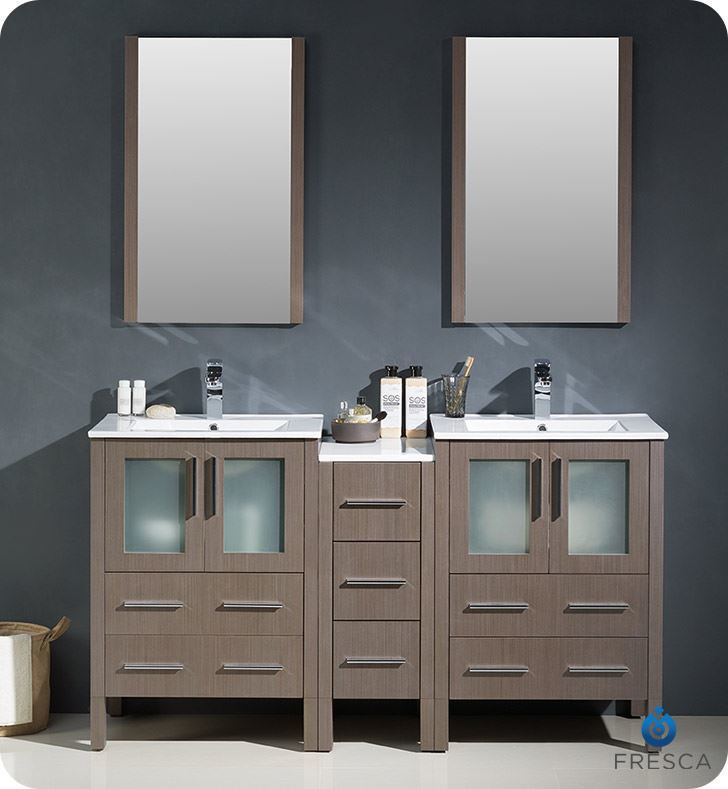 """Picture of Fresca Torino 60"""" Gray Oak Modern Double Sink Bathroom Vanity with Side Cabinet and Integrated Sinks"""