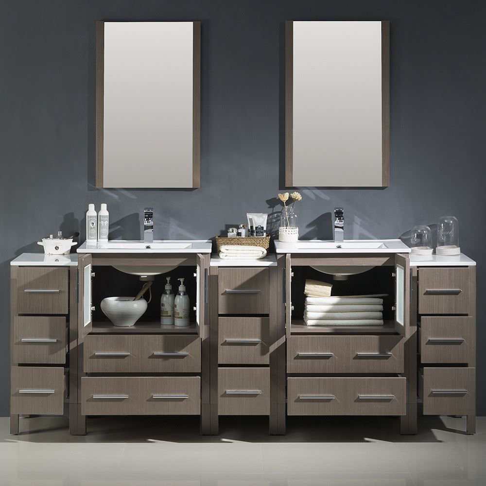 """Picture of Fresca Torino 84"""" Gray Oak Modern Double Sink Bathroom Vanity with 3 Side Cabinets and Integrated Sinks"""