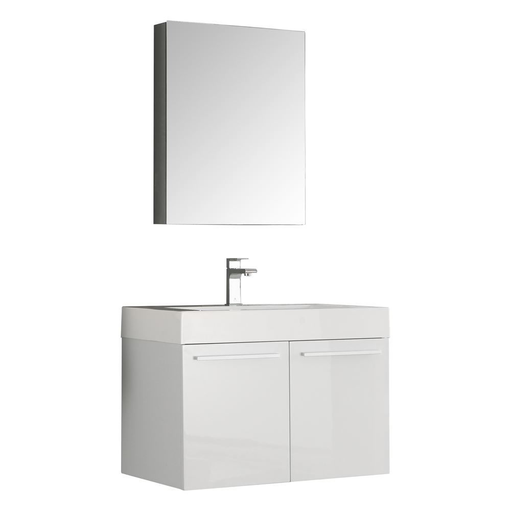 "Picture of Fresca Vista 30"" White Wall Hung Modern Bathroom Vanity w/ Medicine Cabinet"