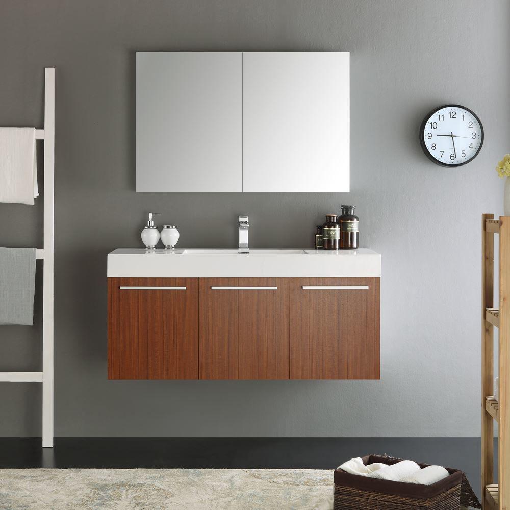 "Picture of Fresca Vista 48"" Teak Wall Hung Modern Bathroom Vanity w/ Medicine Cabinet"