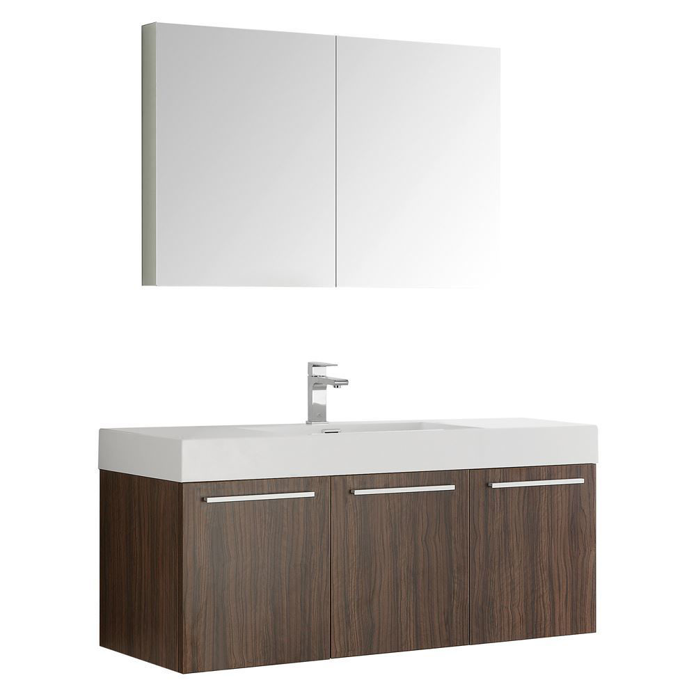 "Picture of Fresca Vista 48"" Walnut Wall Hung Modern Bathroom Vanity w/ Medicine Cabinet"