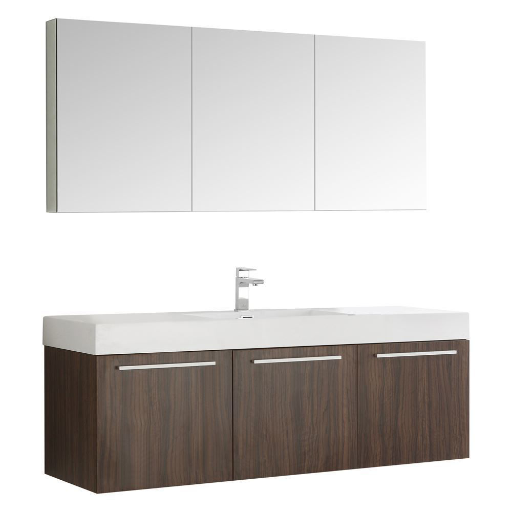"Picture of Fresca Vista 60"" Walnut Wall Hung Single Sink Modern Bathroom Vanity w/ Medicine Cabinet"