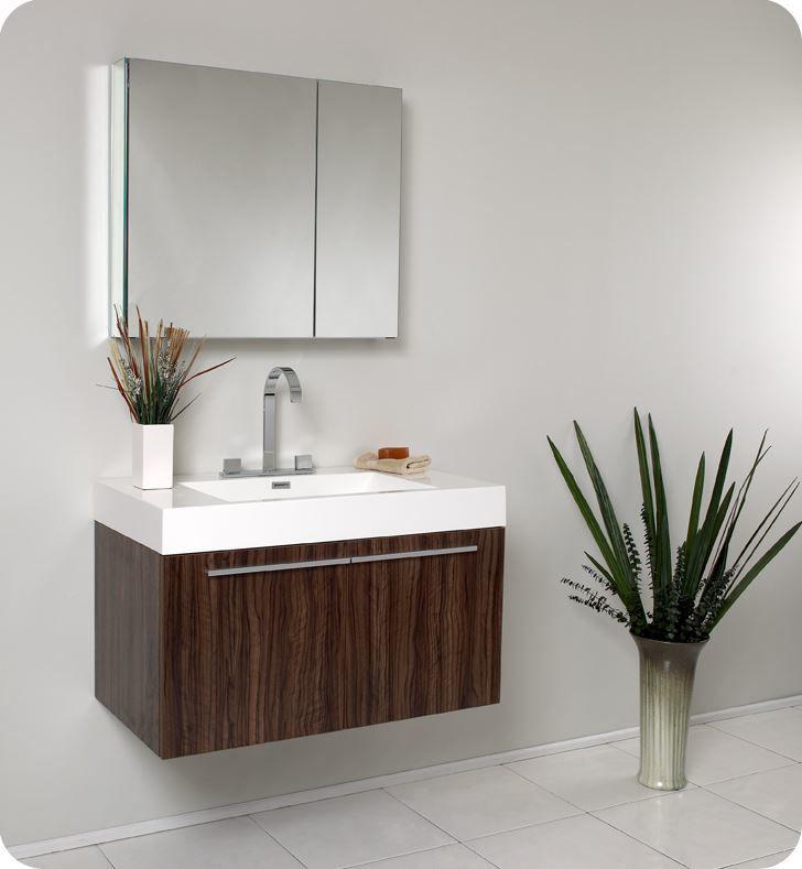 Picture of Fresca Vista Walnut Modern Bathroom Vanity w/ Medicine Cabinet