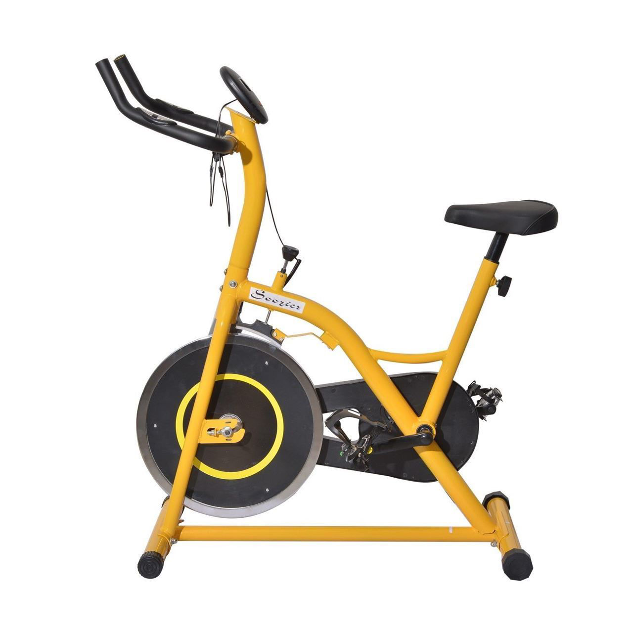 Picture of Home Gym Fitness Upright Stationary Exercise Cycling Bike with LCD Monitor - Yellow and Black