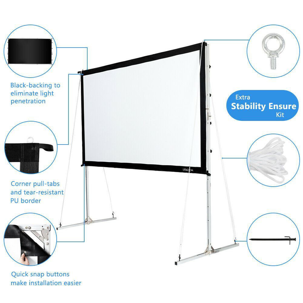 "Picture of Home Theater 4K 3D 120"" 16:9 Portable Movie Projector Screen"
