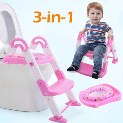 Picture of Kid's 3 in 1 Toilet Potty Training Chair Seat Step Ladder Pink