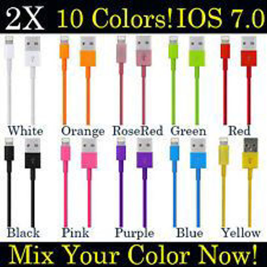 Picture of iPhone 5 S C iPod Touch 5th 8 Pin USB Data Sync Charger Cable Cord - Q-ty 10