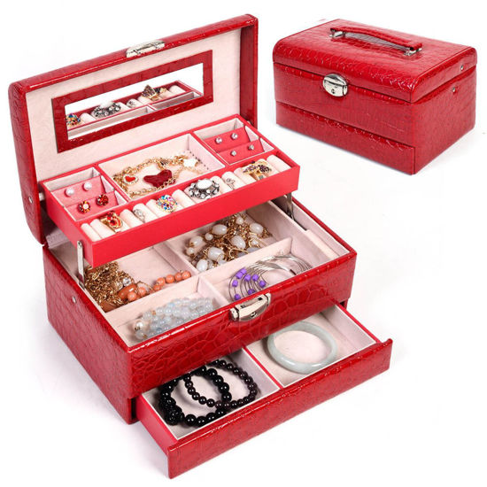 Picture of Jewelry Storage Organizer Case with Mirror PU Leather