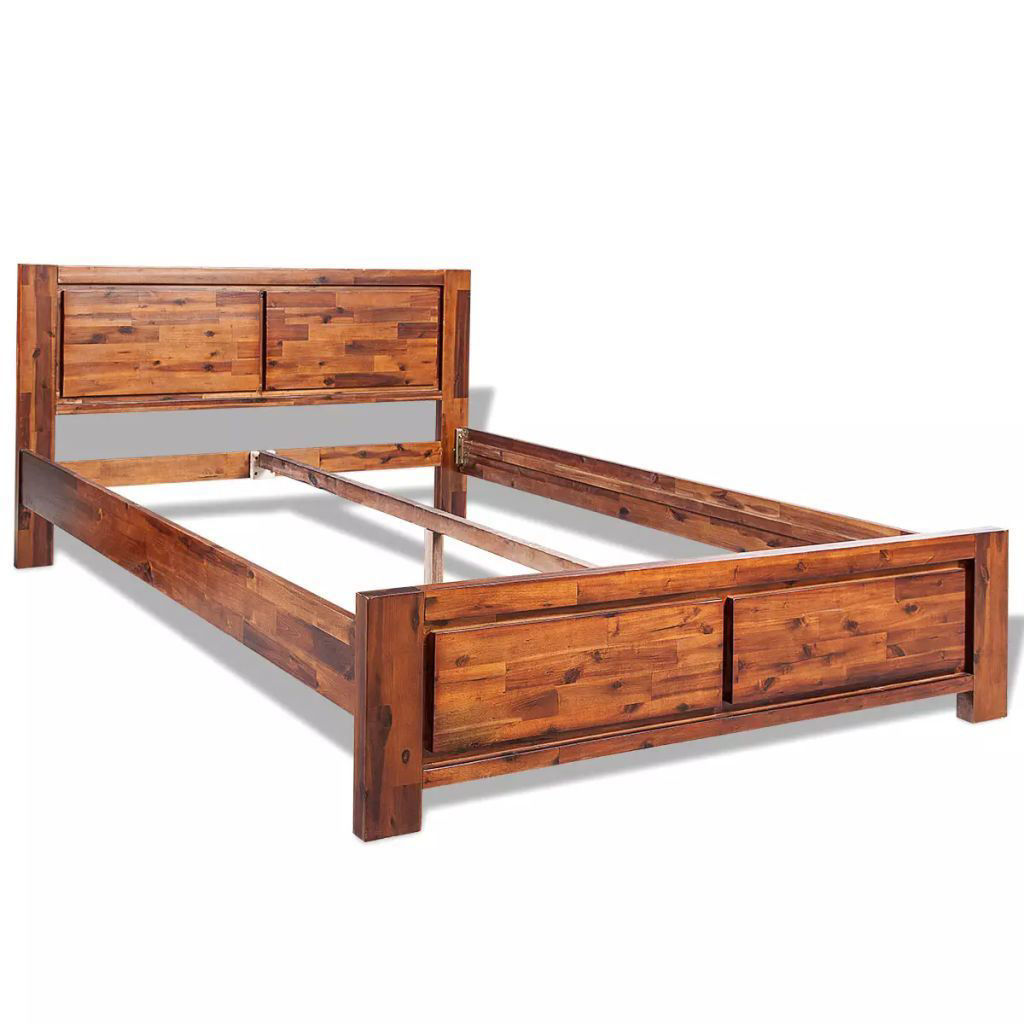 Picture of King Size Bed Frame Solid Acacia Wood - Brown