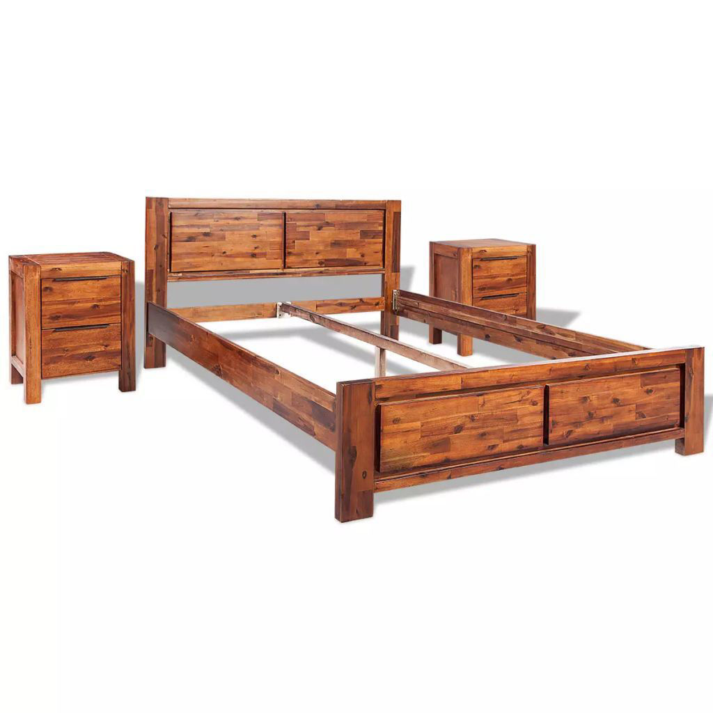 Picture of King Size Bed with Nightstands - Solid Acacia Wood - Brown