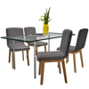 Picture of Kitchen Dining Chairs Fabric Oak - 4 pcs Dark Gray