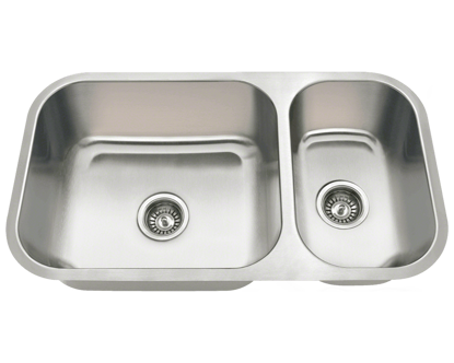 Picture of Kitchen Offset Double Bowl Undermount Stainless Steel Sink
