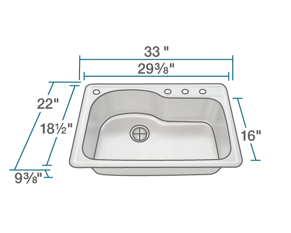 Picture of Kitchen Offset Single Bowl Topmount Sink - Stainless Steel