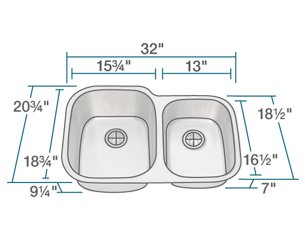 Picture of Kitchen Stainless Steel Double Bowl Undermount Sink Offset
