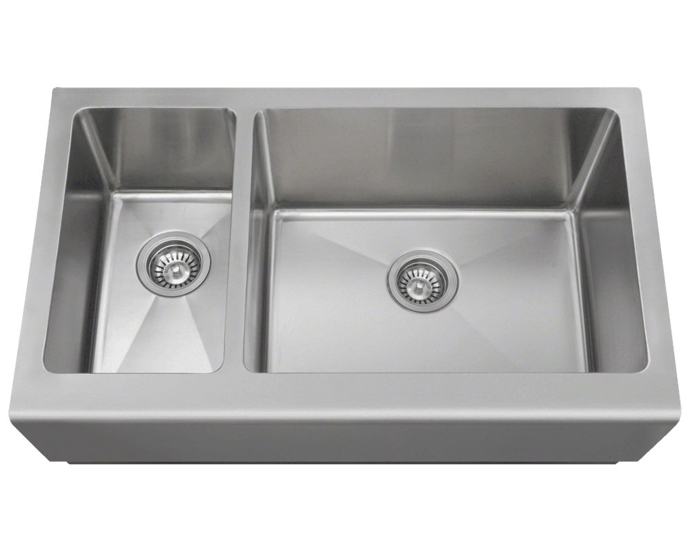 Picture of Kitchen Stainless Steel Offset Double Apron Sink