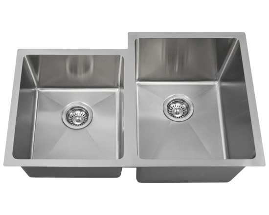 """Picture of Kitchen Stainless Steel Sink Offset Double Bowl 3/4"""" Radius"""