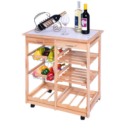 Picture of Kitchen Trolley Cart Dining Storage Drawers Rolling Wood Stand