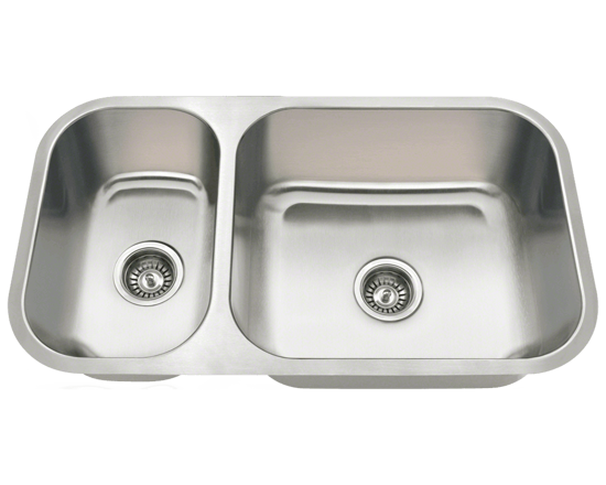 Picture of Kitchen Undermount Stainless Steel Sink Offset Double Bowl