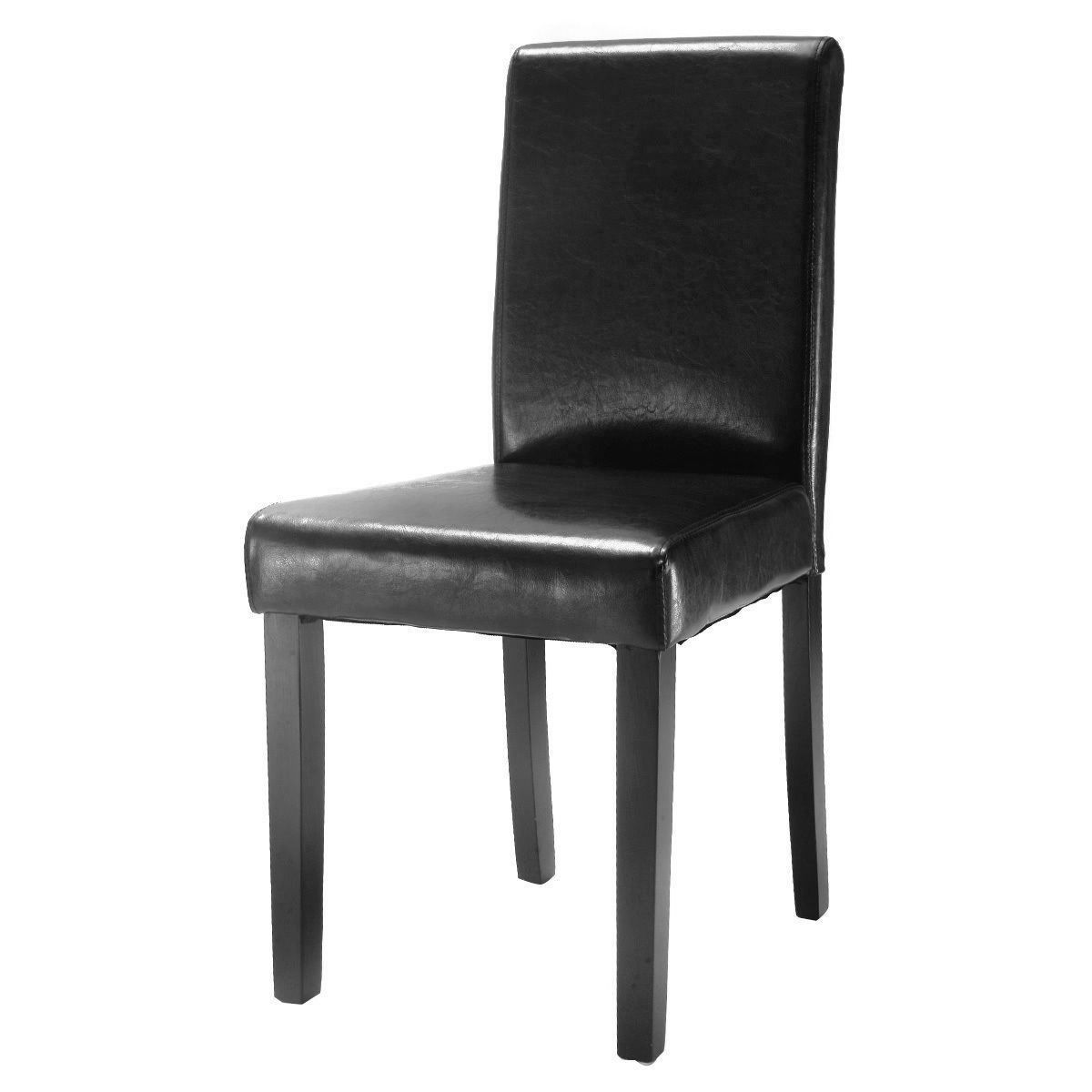 Picture of Leather Contemporary Dining Chairs Set of 2 Black