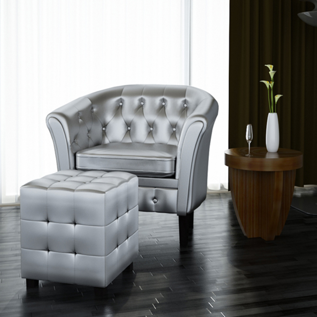 Picture of Living Room Armchair Tub Chair Artificial Leather with Footrest - Silver