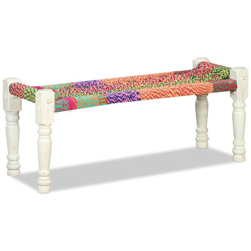 Picture of Living Room Bench Solid Acacia Wood with Chindi Fabric - Multicolor