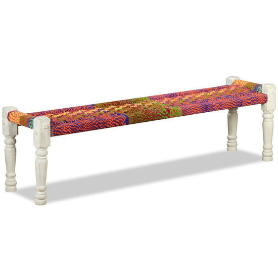 Picture of Living Room Bench Wood with Chindi Fabric Multicolor - Solid Acacia