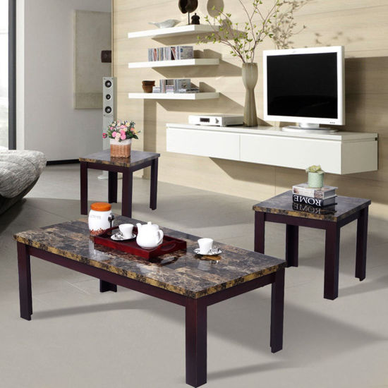 Picture of Living Room Faux Marble Coffee Table Set Sofa Cherry 3 Piece