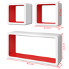 Picture of Living Room Floating Wall Display Cubes Shelves - 3 pcs White with Red