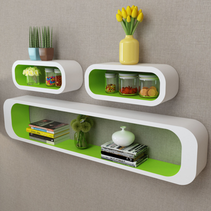 Picture of Living Room Floating Wall Display Shelves - White-Green 3 pc