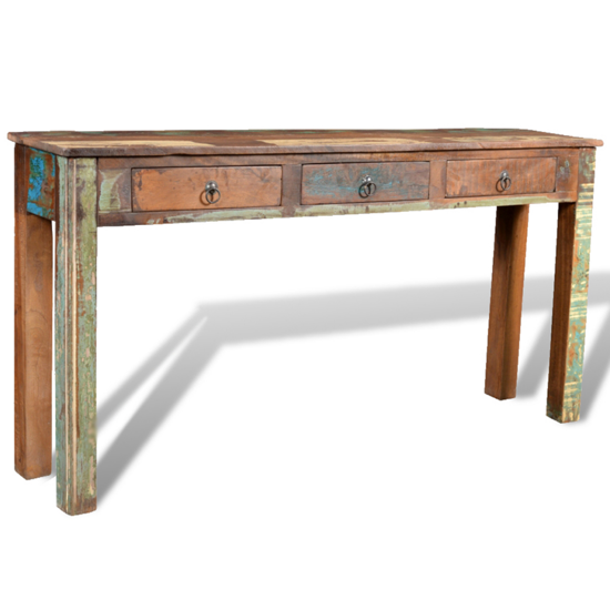 Picture of Living Room Side Table with 3 Drawers - Reclaimed Wood