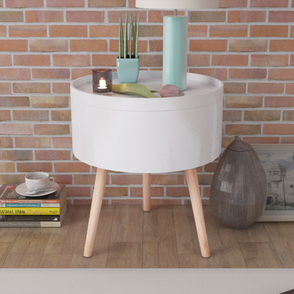 Picture of Living Room Side Table with Serving Tray Round 15 x 17 - White