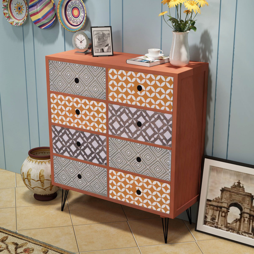 Picture of Living Room Sideboard with 8 Drawers - Brown