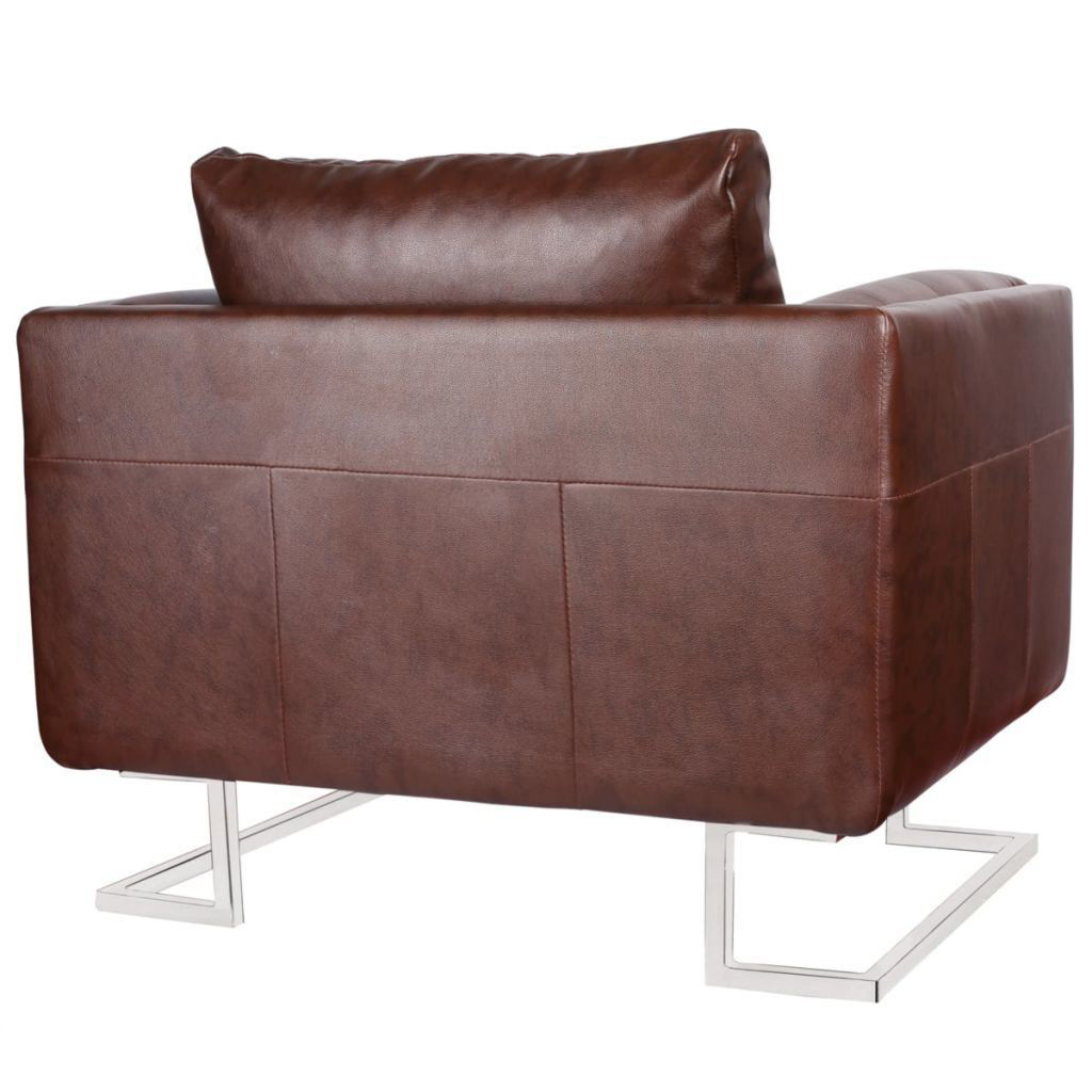 Picture of Luxury Cube Armchair Brown with Chrome Feet
