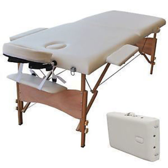 """Picture of Massage Table Portable Facial Spa Bed Tattoo with Free Carry Case White 84"""""""