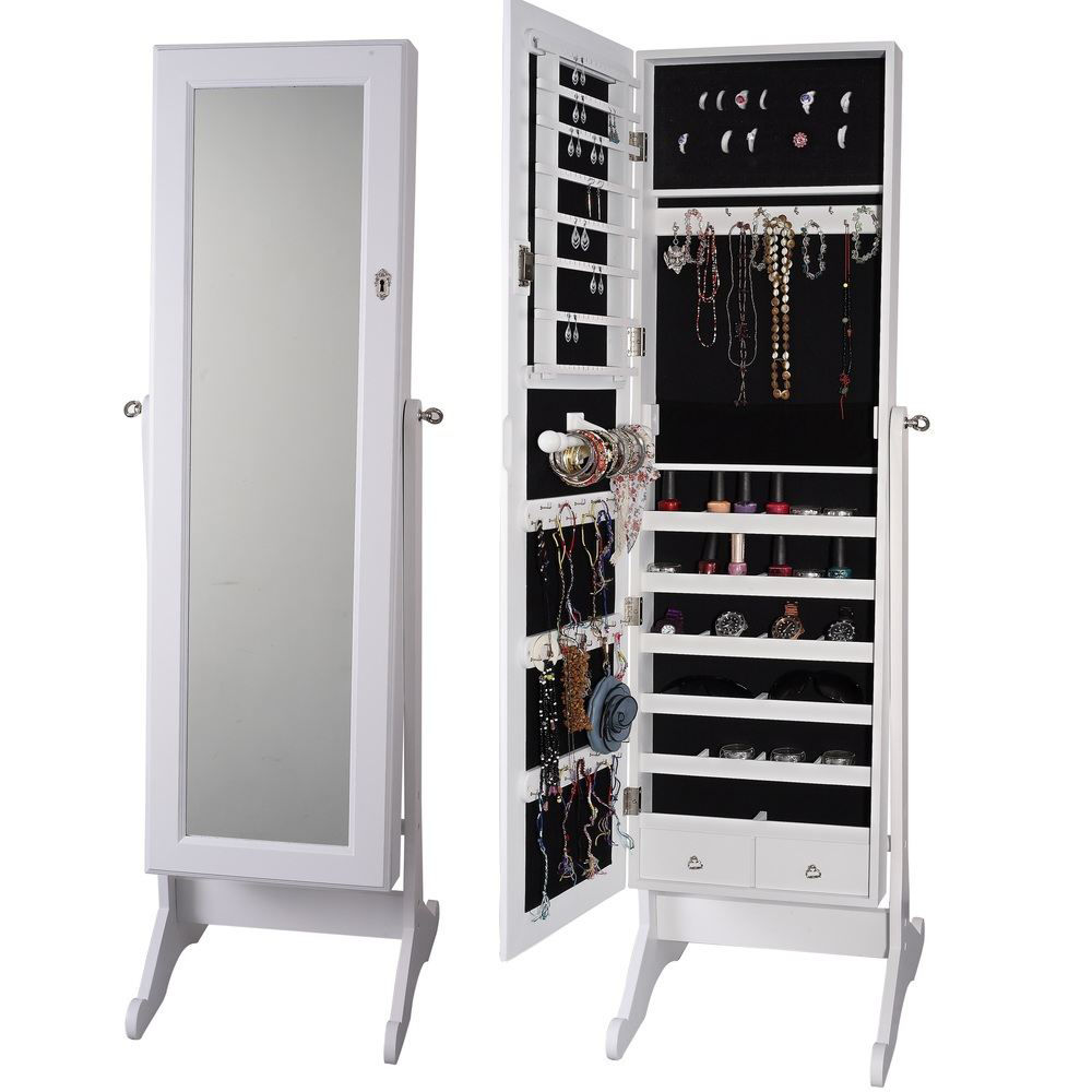 Picture of Mirrored Armoire Jewelry Organizer Storage with Stand