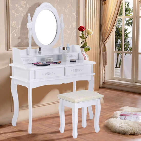 Picture of Makeup Table Set With Drawers Mirror and Stool