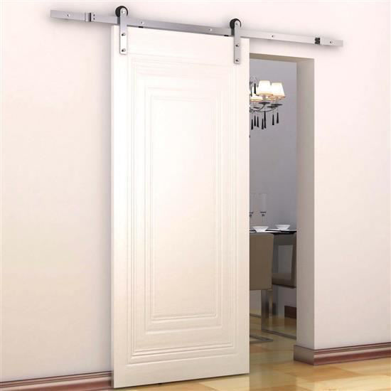 Picture of Modern 6' Interior Sliding Barn Door Kit Hardware Set - Flat Stainless