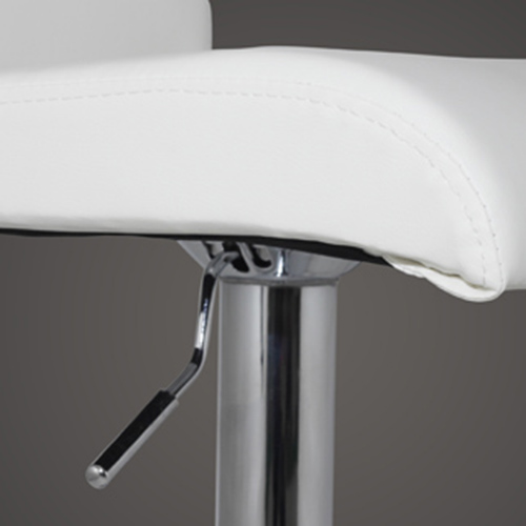 Picture of Modern Adjustable Bar Stool with T-bar Footrest - 2 pcs White