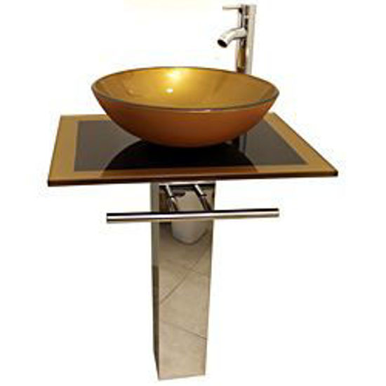 Picture of Mustard Gold 23 inch Glass Vessel Bathroom Vanity
