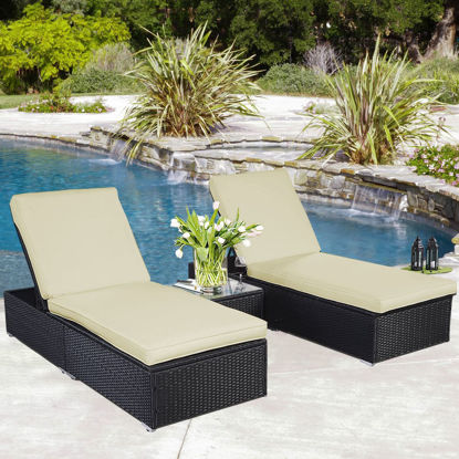 Picture of Outdoor Lounge Chairs with Table - 3 Piece Black